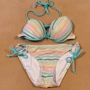 👙🌸VICTORIA'S SECRET PASTEL STRIPE BIKINI 🍍🌸👙
